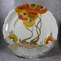 Pair of AJ Wilkinson Ltd, Clarice Cliff, Honeyglaze, Rhodanthe Pattern,  Dinner Plates (3 of 7)