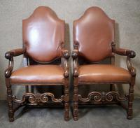 Large Pair of Oak & Leather Armchairs (9 of 11)