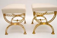 Pair of 1970's Vintage Brass Stools (7 of 9)