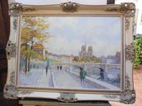 Large Oil on Canvas Notre Dame Artist L Du Bois 1960s (10 of 10)