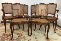 Vintage French Set of 6 Cherrywood Bergère Cane Dining Chairs with Carvers (10 of 14)