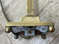 Antique Edwardian Table Brass Lamp Lighting With Shade (19 of 25)