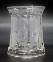 Good Engraved Glass Marriage Tankard with Vine Hops & Barley 19th Century (7 of 11)