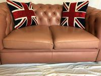 Fine English Vintage 20th Leather Chesterfield Sofa 2 Seater Ladies Pink (3 of 12)