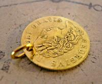 Victorian Pocket Watch Chain Fob 1890s Antique Brass Guinea Gambling Coin Fob (3 of 5)