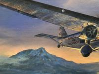 Original Oil on Canvas 'A National Air Transport Plane Powered by a Ford Tri Motor Makes an Approach in the Evening' by Douglas Ettridge - Signed c.1980 (3 of 4)