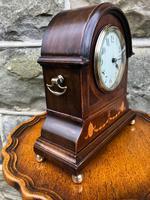 Edwardian Inlaid Mahogany Mantle Clock (3 of 6)