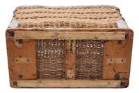 Vintage large strong cane and pig skin log or storage basket (2 of 8)