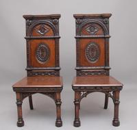 Near Pair of 19th Century Carved Oak Gothic Hall Chairs (2 of 12)
