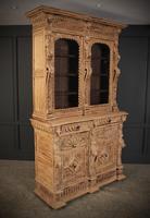 Carved Raw Oak Glazed Bookcase (9 of 21)