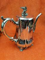Antique Victorian Silver Plate Teapot C1870 Hand Engraved Folate Patterning with Bird, Maybe Eagle Finial (9 of 11)