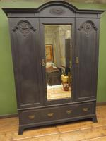 Antique Black Painted Mirrored Triple Wardrobe in 5 Parts, Gothic Shabby Chic (14 of 17)