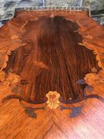 Antique Inlaid Rosewood & Polychrome Painted Coffee Table (9 of 9)