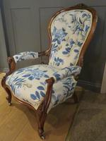 Victorian Walnut Armchair New Upholstery c.1860 (2 of 11)