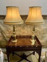 Pair Of Early 20th C Brass Lamps With Silk Shades (6 of 7)