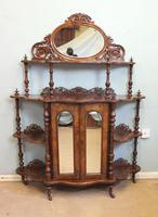 Antique Victorian Burr Walnut Display Whatnot Side Cabinet