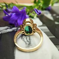 Vintage 18ct Gold Green Tourmaline & Diamond Dress Ring (7 of 13)