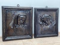 Pair of Antique Belgium Ecclesiatical Mary & Jesus Wall Plaster Plaque Sculptures (3 of 18)