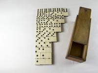 Boxed Set of Victorian Ebony & Bone Dominoes with Brass Studs (2 of 5)