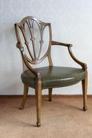 Sheraton Period Leather Covered Carver Chair (2 of 6)
