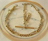 Antique Pocket Watch Chain 1890s Victorian Brass Figaro Link Albert With T Bar (3 of 11)