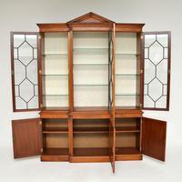 Antique Burr Walnut Breakfront Bookcase / Display Cabinet (3 of 10)