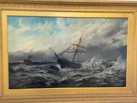Huge 19th Century Seascape Oil Painting Sinking Ship Signalling Rescuers by Henry E Tozer (3 of 58)