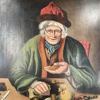 Antique Georgian Oil Painting Portrait Entitled The Miser by C Hind 1823 (4 of 10)