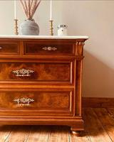 Burr Walnut Chest of Drawers / French Antique Style Commode with Marble (4 of 7)