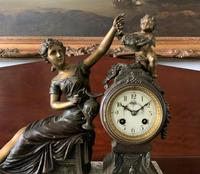 Beautiful 19thc French 3-piece 8-day Gilt-bronzed Spelter Garniture Mantle Clock (5 of 16)