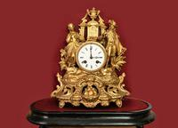 Lovely 1860's French Spelter Striking Figurine Mantel Clock by Japy Frères (5 of 7)