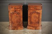 Late Victorian Figured Walnut Bow Front Bedside Cabinets (4 of 17)