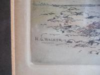 Henry George Walker (1876-1932): coloured etching of Lynmouth Harbour, Devon (4 of 4)