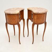 Pair of Antique French Marble Top Kidney Bedside Tables (3 of 12)