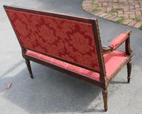 1910s French Beech 2 Seater Sofa in Red Upholstery (3 of 4)