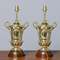 Victorian Pair of Urn Shape Cast Brass Lamps (3 of 10)