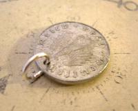 Vintage Pocket Watch Chain Fob 1944 WW2 German Reich 10 Pfennig Eagle Coin Fob (3 of 4)