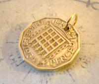 Vintage Pocket Watch Chain Fob 1954 Queen Elizabeth Threpenny Bit Coin Fob (3 of 7)