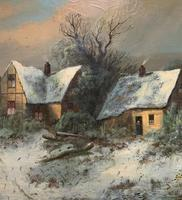 Very Large Outstanding 19th Century British Winter Snow-capped Landscape Oil Painting (5 of 13)