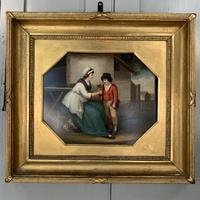 Antique Georgian oil painting study of mother and son at The Old Manor, Abbots Morton, Worcs (5 of 10)