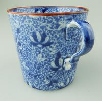 Pearlware Pottery Blue & White Transferware Loving Cup & Saucer c.1810 (4 of 8)