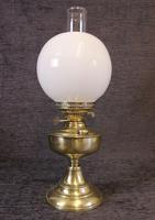 Brass Oil Lamp Opal White Shade