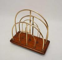 Victorian William Tonks Brass & Oak Desk Top Magazine or Letter Rack (9 of 11)