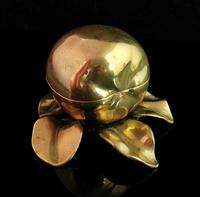 Antique Victorian Brass Inkwell, Apple (4 of 13)