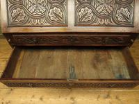 Antique Carved Oak Writing Bureau Desk with Fall Front, Handsome Gothic Piece (8 of 24)