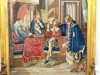 """Large Artwork Gilt Gesso Framed 19th Century Tapestry French Royal Court """"Playing Chess"""" (39 of 44)"""