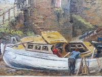 Oil on Canvas Cornish Harbour View Listed Artist Dora Johns 1966 (9 of 10)