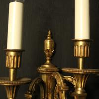French Pair Of Gilded Triple Arm Antique Wall Lights (7 of 9)