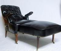 French Second Empire Rosewood & Leather Reclining Chair (3 of 8)