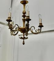 Gilded Brass 5 Branch Rococo Style Chandelier (3 of 8)